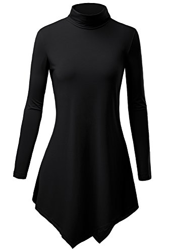 DJT Womens Turtleneck Sleeve Hankerchief