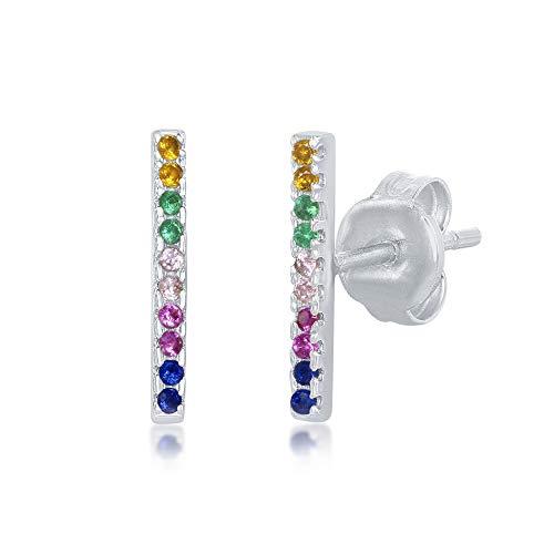 Sterling Silver Rainbow CZ Bar Stud Earrings