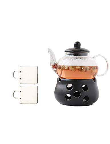 Ceramic Teapot Household Tea Set Thick Heat-Resistant Glass Tea Cup Kettle Candle Heating with Tea Compartment (teapot 600ml Teacup 130ml) Tea Pots (Color : Tow Cups)