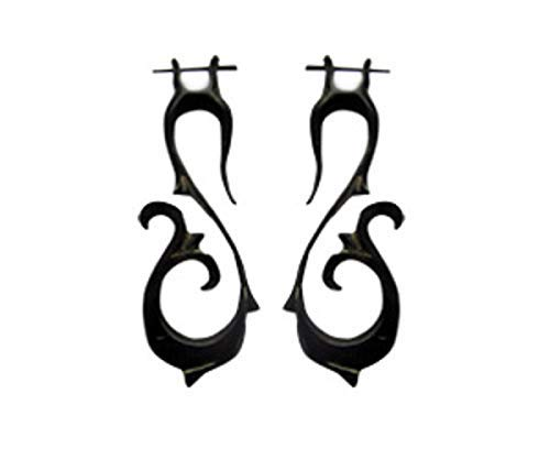 Cocoroots Women Dangle Tribal Inca Spirals Carved Horn or Bone Earring with Fitting Post