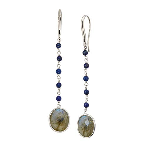 Silpada 'Good Natured' 9 1/2 ct Natural Labradorite and Lapis Drop Earrings in Rhodium-Plated Sterling Silver