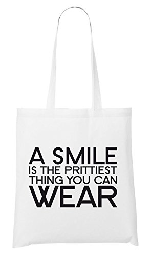 A Smile Is The Prettiest Thing You Can Wear Bag White