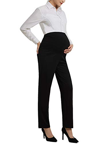 - Women's Maternity Dress Pants for Work Bootcut Over-Bump Stretchy Office Work Pants Trousers Black L