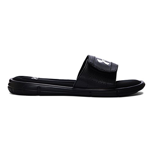Under Armour mens Ignite V Slide Sandal, Black (001)/White, 14