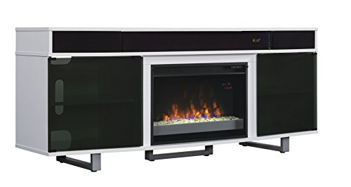 "ClassicFlame 26MMS9626-NW145 Enterprise TV Stand with Speakers for TVs up to 80"", Gloss White (Electric Fireplace Insert sold separately)"