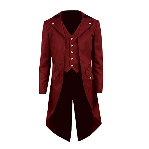 COSSKY Boys Gothic Tailcoat Jacket Steampunk Long Coat Halloween Costume (Deep Red(B), 12)]()