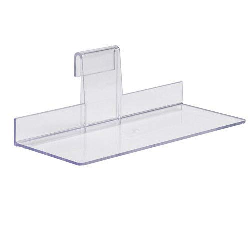 Clear Acrylic Gridwall Shoe Shelf, 4'' D x 10'' L Flat Acrylic Shoe Display for Grid Panels, 10 Pack