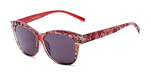 Readers.com Sun Reader: The Celine Reading Sunglasses Plastic Cat Eye Style for Women - Red with Smoke, ()