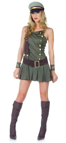 [Underwraps Carnival Women's U.S. Army In The Army Adult Costume Medium Green] (Army Halloween Costumes Women)