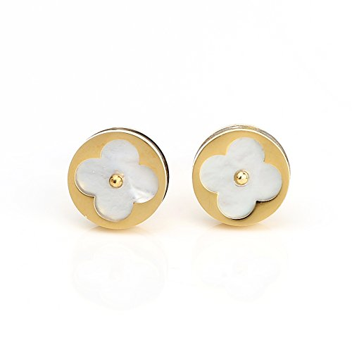 Petite Gold Tone Post Earrings with Contemporary Cut Out Clover Design and Faux Mother-Of-Pearl Inlay (160050) ()