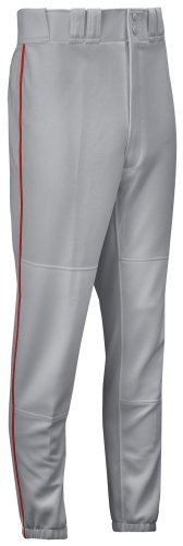 Mizuno Full Length Premier Piped Baseball Pant (Grey/Red, Small)