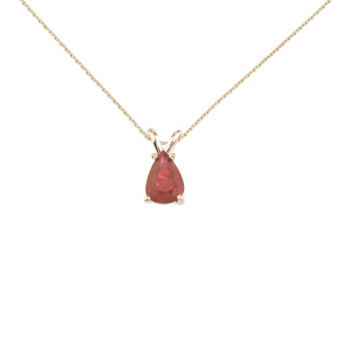 (14k Yellow Gold Pear Shaped Ruby Pendant with 18