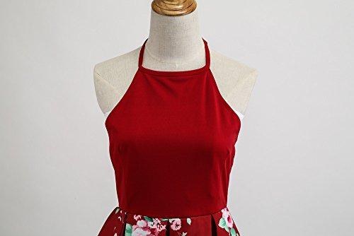 Floral Chic Vintage Rockabilly Licou Rtro Cocktail Femme Plissee Sunenjoy nu Robe Sans Robe Imprim Manches Longue Femme Dos Robe Rouge Robe Soire xYBSwqIIa