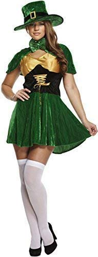 Ladies Sultry St Patricks Day Leprechaun Hat Cape Dress Ireland Irish National Dress Celebration Party Fancy Dress Costume Outfit
