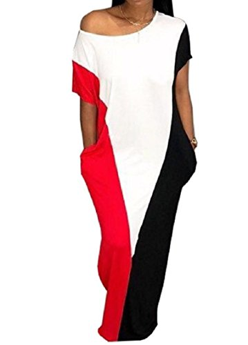 Block Dress Long Short Crew Women Sleeve Neck Red Coolred Maxi Pocketed Color Loose EwBZP
