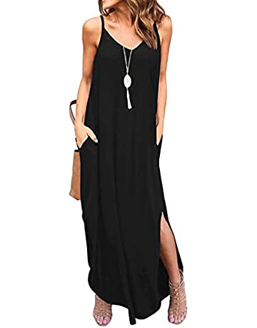 05ad1a68 GRECERELLE Women's Summer Casual Loose Dress Beach Cover Up Long Cami Maxi  Dresses with Pocket