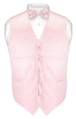 (Men's Dress Vest & BOWTie PINK Horizontal Striped BOW Tie Woven Design sz S)