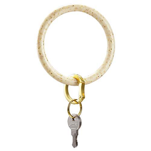 Townshine Silicone Bangle Key Ring Wrist Keychain Round Key Rings (Cream Flash Gold)