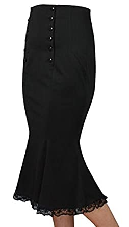 XS-28 Power Broker Black or Red 30s 40s Lacey Pencil Midi Retro Rockabilly Skirt