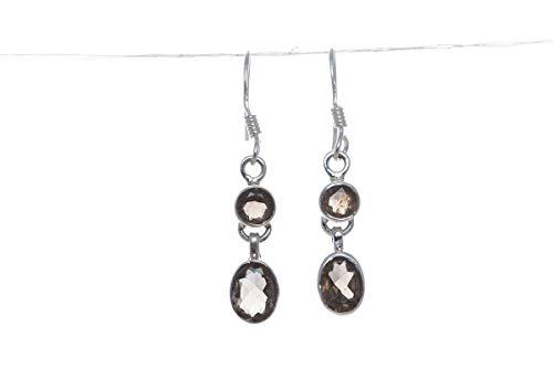 925 Sterling Silver Natural Designer Smoky Quartz Handmade Earrings Healing Gemstone Jewelry