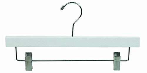 The Great American Hanger Company 500222-025 Wooden Bottom Hanger with Clips, White, Large