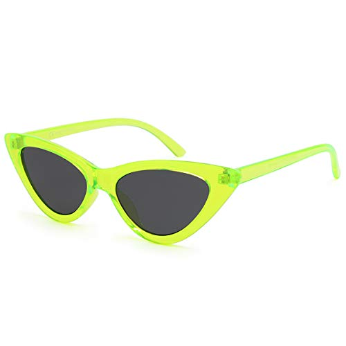 Livhò Retro Vintage Narrow Cat Eye Sunglasses for Women Clout Goggles Plastic Frame (Green) ()