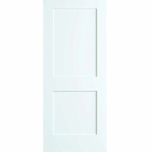 2-Panel Door, White Primed Shaker, Solid Wood Core, 80 in. x 1-3/8 in. (30x80)