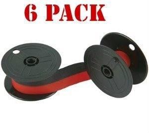 Compatible Replacement Black Ribbon - New Compatible Nukote BR80C Calculator Ribbon Black/Red (6-pack) For Sharp El 1197 P III