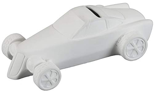Creative Hobbies Smokin Hot Rod Bank, Case of 6, Unfinished Ceramic Bisque, with How to Paint Your Own Pottery Booklet ()