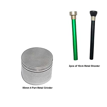 Metier Metal Herb Storage Grinder/Crusher with Honey Dust, Sliver, 50mm with Free Metal Shooter, 2 Pcs, 10cm