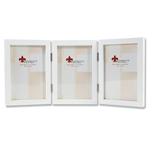 (Lawrence Frames Hinged Triple White Wood Picture Frame, Gallery Collection, 4 by)