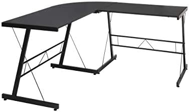 OFM Essentials Collection 60 Metal Frame L-Shaped, Corner Computer Desk, in Black ESS-1021-BLK-BLK