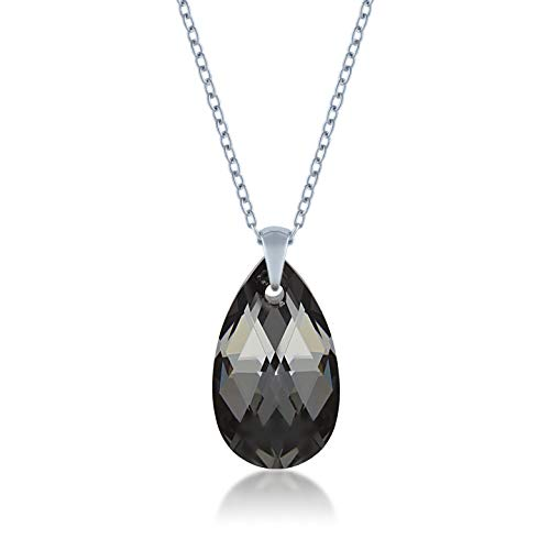Ed Heart Aurora Pendant Necklace with Black Grey Silver Night Pear Crystals from Swarovski Silver Toned Rhodium Plated