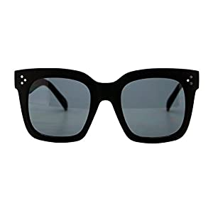 Womens Oversized Fashion Sunglasses Big Flat Square Frame UV 400 (matte black, black)
