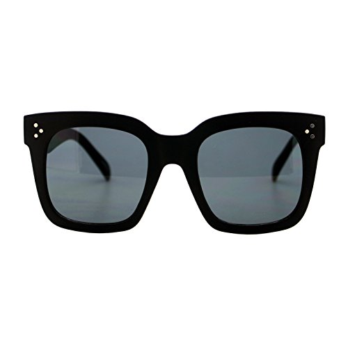 Womens Oversized Fashion Sunglasses Big Flat Square Frame UV 400 (matte black, - Black Big Frames
