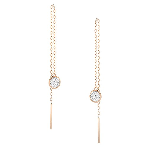14K White Gold Or Rose Gold Chain Dangle Earrings Round CZ Bezel Threader Drop Earrings Chain Round Wire Earrings