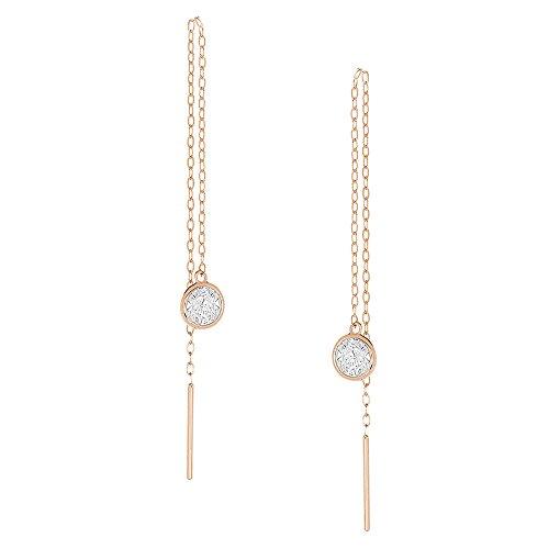 14K White Gold Or Rose Gold Chain Dangle Earrings Round CZ Bezel Threader Drop Earrings