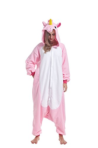 Weather Cold Halloween For Costumes Women (IFBOXS Unisex-Adult Christmas Plush One Piece Unicorn Animal Pajamas Halloween Cosplay)