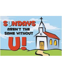 - Postcards - Attendance - Miss You - All Ages - Sundays Arent The Same Without U! (Pkg. of 25)