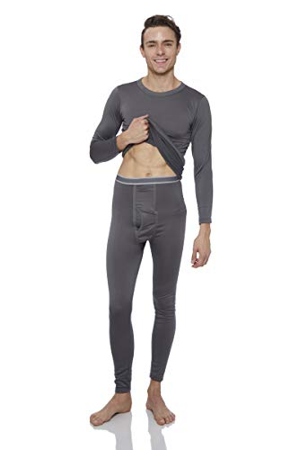 Fleece Lined Long John Underwear 2pc Set (Large, Charcoal) ()