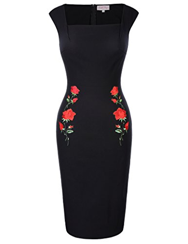 Slim Fit Square Neck Embroidered Dress Black Wear to Work Pencil Dress L BP328-1 ()