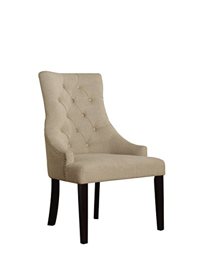 Acme Furniture ACME Drogo Cream Fabric and Walnut Side Chair Set of 2 - Acme Furniture Set Chair