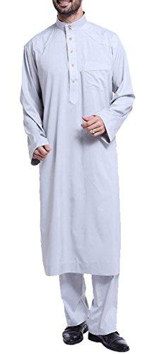 Fensajomon Men's Plus Size Arabic Abaya Muslim Middle East Outfit Arabian Robe Grey L]()