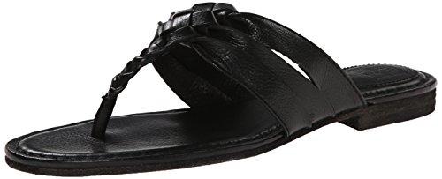 FRYE Women's Carson Twisted T Strap Sandal, Black, 9.5 M US