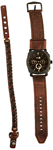 Fossil Mens FS5251SET Machine Chronograph Dark Brown Leather Watch and Bracelet Box Set from Fossil