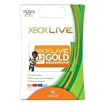 Microsoft Xbox Live Card. XBOX 360 LIVE 12MO GOLD CARD. 12 Month Available Time