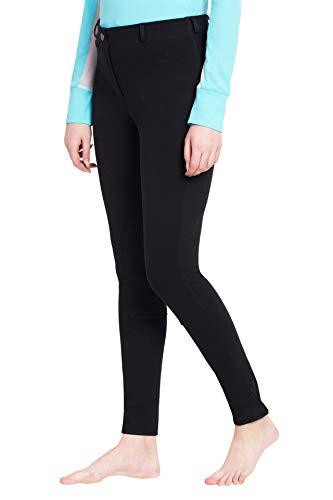 (TuffRider Ladies Cotton Pull-On Knee Patch Plus Breeches, Black, 40)