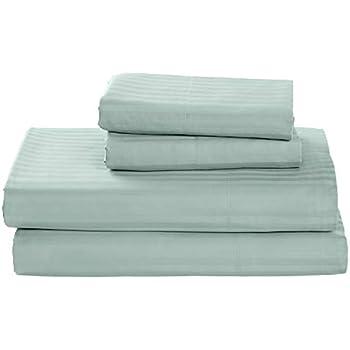 Stone & Beam 100% Cotton Dobby Stripe Sateen Bed Sheet Set, Queen, Oasis