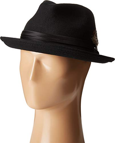 Deluxe Felt Gangster Hat - Stacy Adams Men's Crushable Wool Felt Snap Brim Fedora, Black, Large
