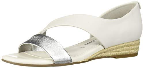 Anne Klein Women's Nancie Wedge Sandal, White/Silver, 7.5 M US